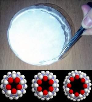 O nanofiltro e, embaixo, esquema dos cavitandos, que deixam passar as moléculas pequenas e retêm as impurezas.[Imagem: Agência USP/MMIL]